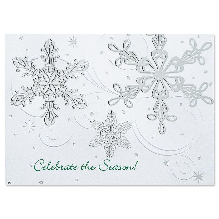 Snow Swirls Deluxe Christmas Cards -   Personalized