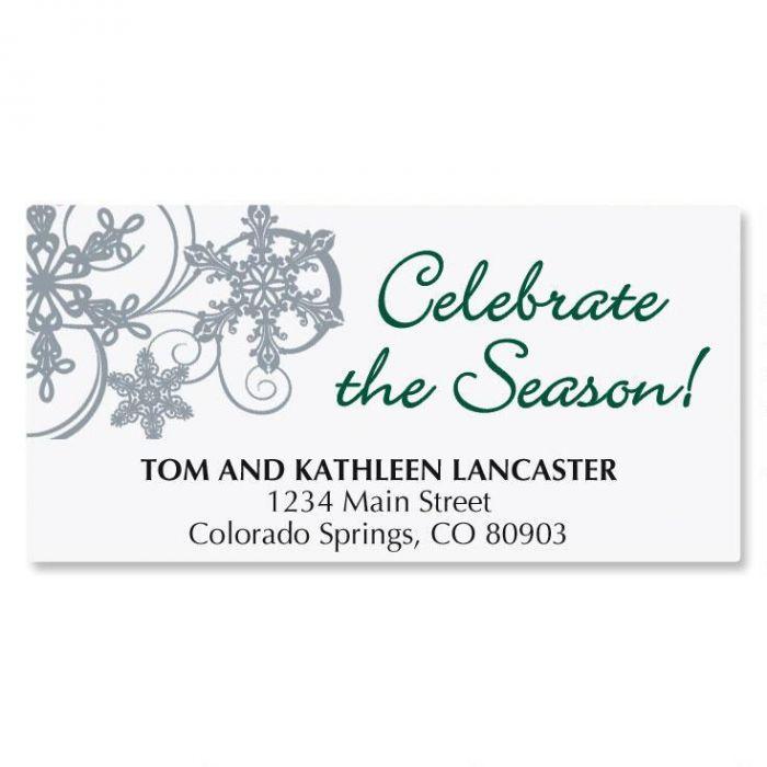Snow Swirls Christmas Address Labels