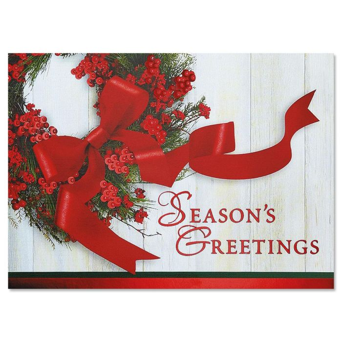 Wreath & Ribbon Personalized Deluxe Christmas Cards - Set of 14