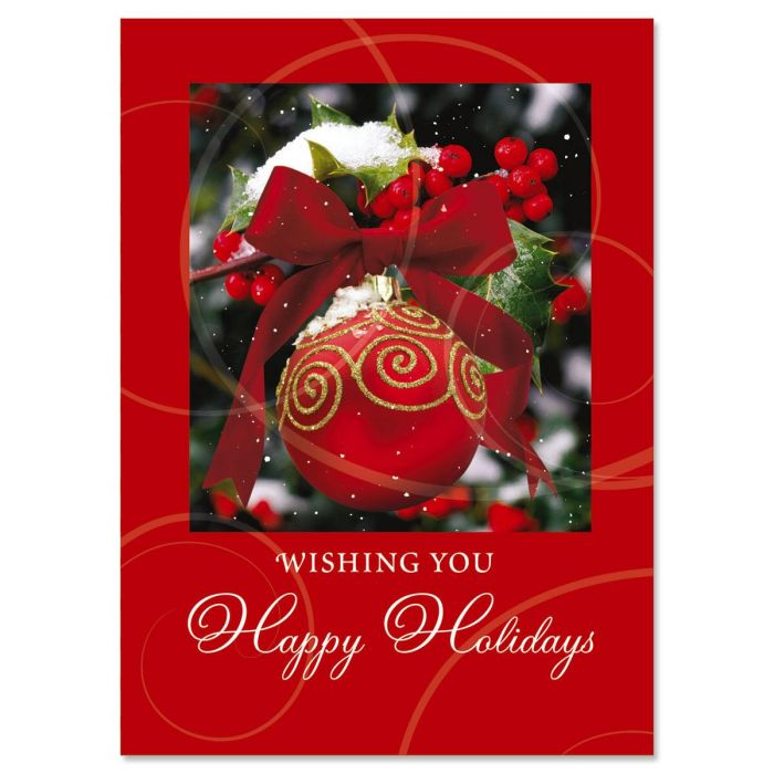 Ornament in Snow Personalized Christmas Cards - Set of 18