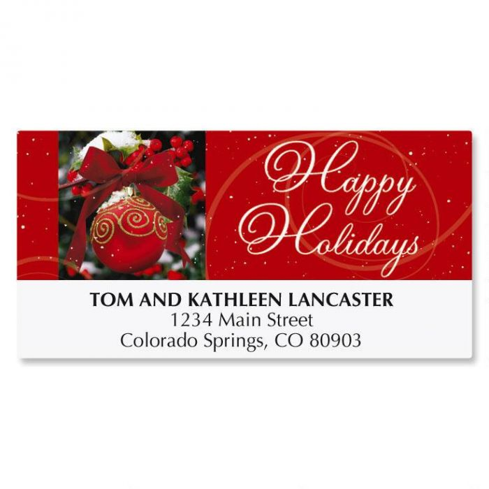 Ornament In Snow Christmas Address Labels