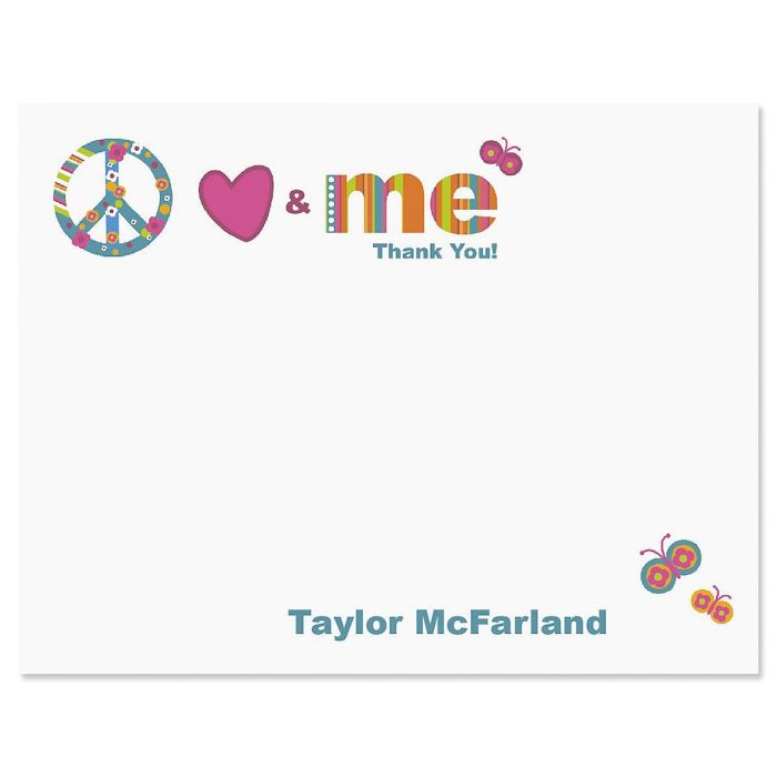 Peace, Love & Me Personalized Thank You Cards