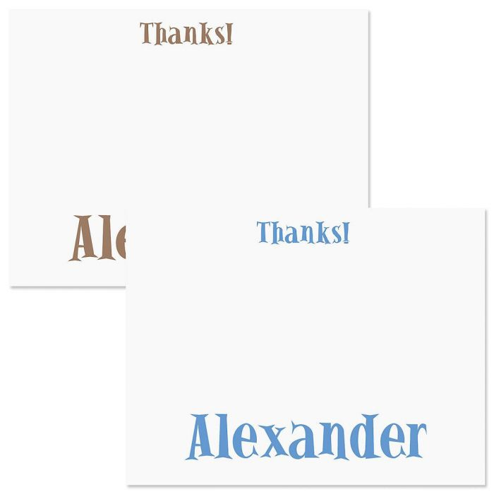Boys Only Personalized Thank You Cards  (2 Color Choices)