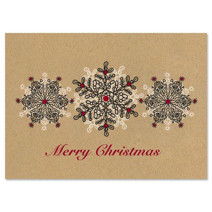 Kraft Stamped Snowflakes Christmas Cards