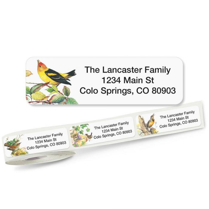 Meadow Birds Rolled Address Labels  (5 Designs)