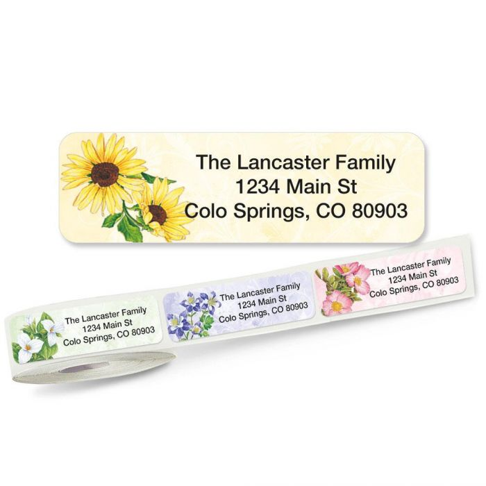 Spring Floral Rolled Address Labels (5 Designs)