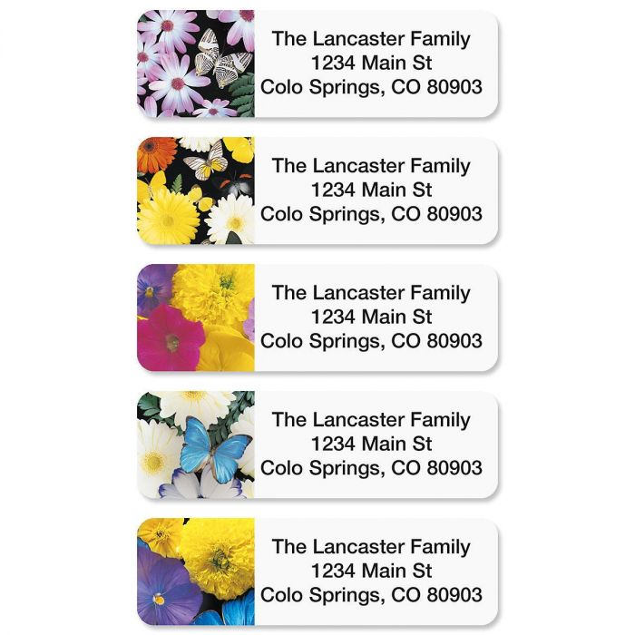 Flower Collage Rolled Address Labels  (5 Designs)