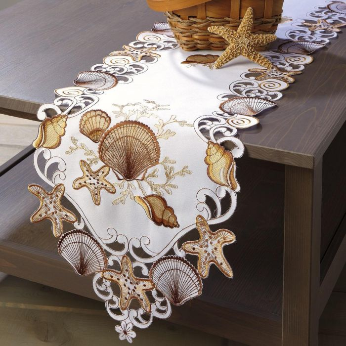 Seashell Cutwork Table Runner