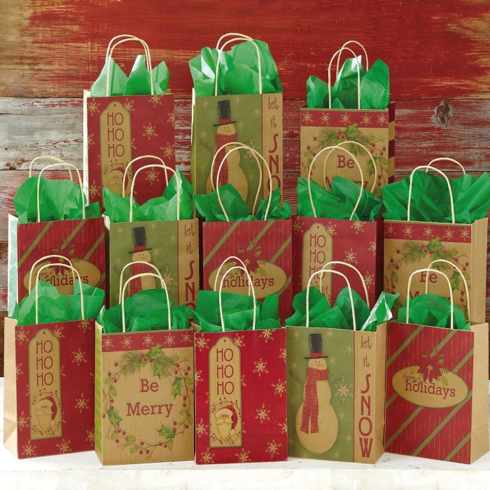 13 Christmas Kraft Gift Bags Current Catalog