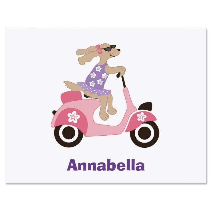 Pink Scooter Personalized Note Cards