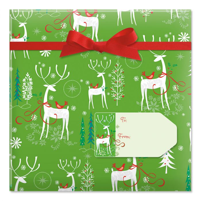 Reindeer Forest Jumbo Rolled Gift Wrap and Labels