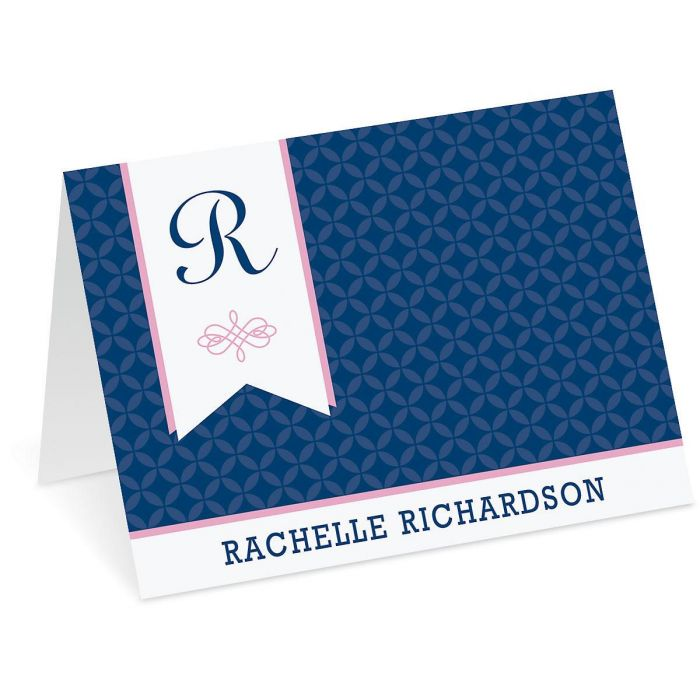 Ribbon Monogram Personalized Note Cards