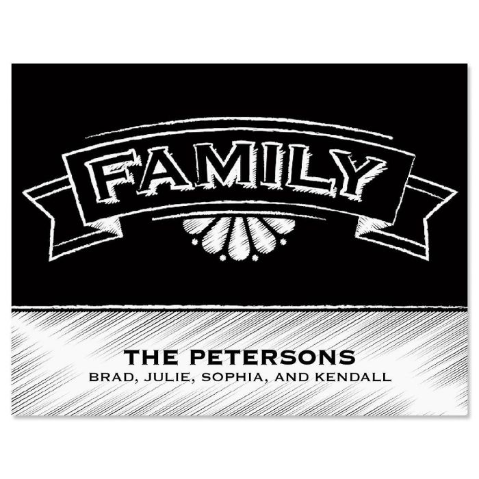 Family Chalkboard Personalized Note Cards