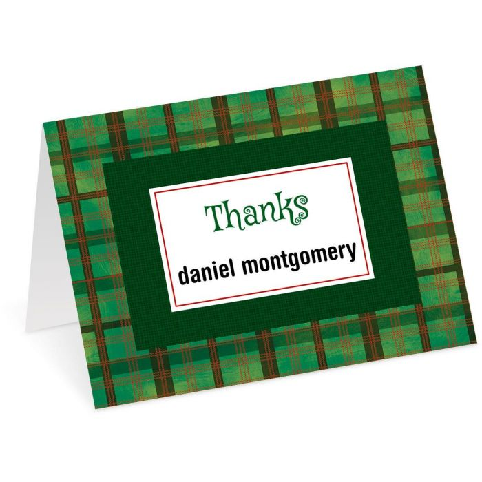 Christmas Plaid Personalized Thank You Cards