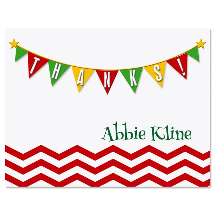 Chevron Banner Personalized Thank You Cards