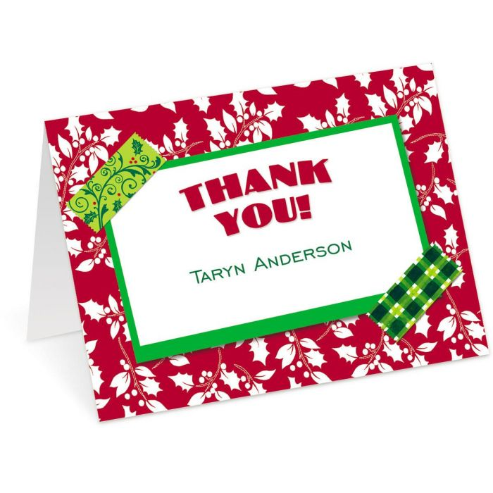 Holiday Tape Personalized Thank You Cards
