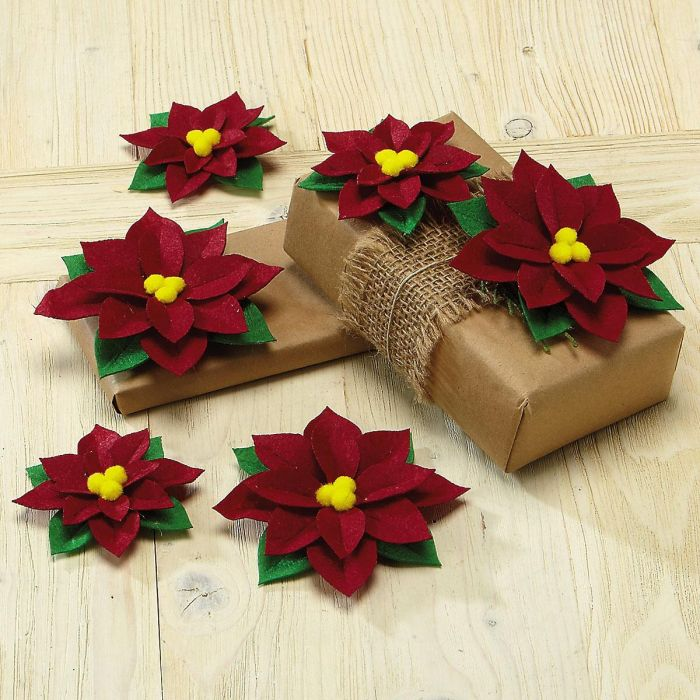 Felt Poinsettia Package Toppers