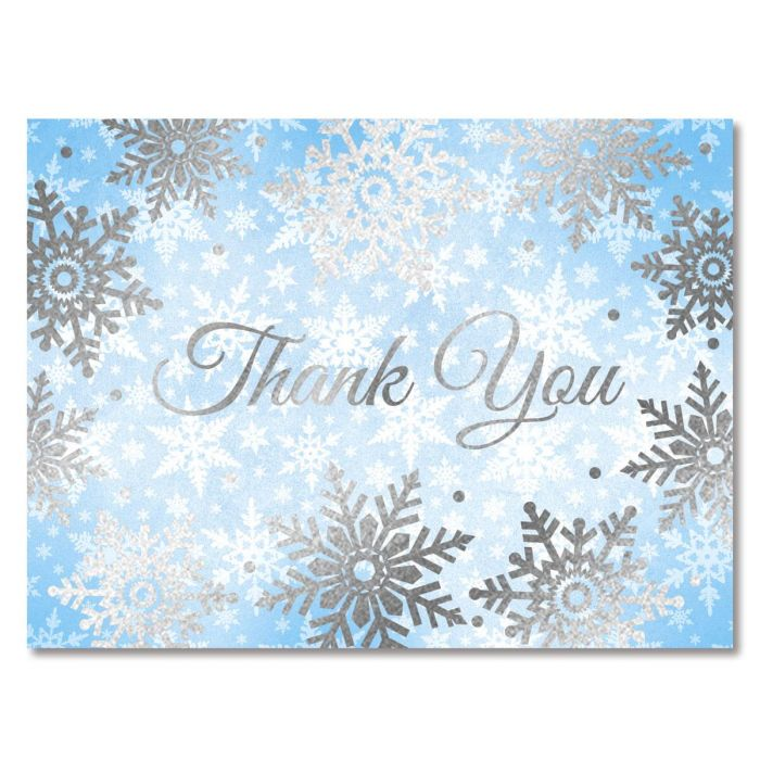 Deluxe Foil Shimmery Snowflakes Thank You Note - BOGO