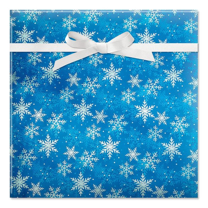 Shimmer Flakes On Blue Foil Rolled Gift Wrap