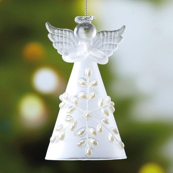 Glass Snow Angel Christmas Ornament - BOGO