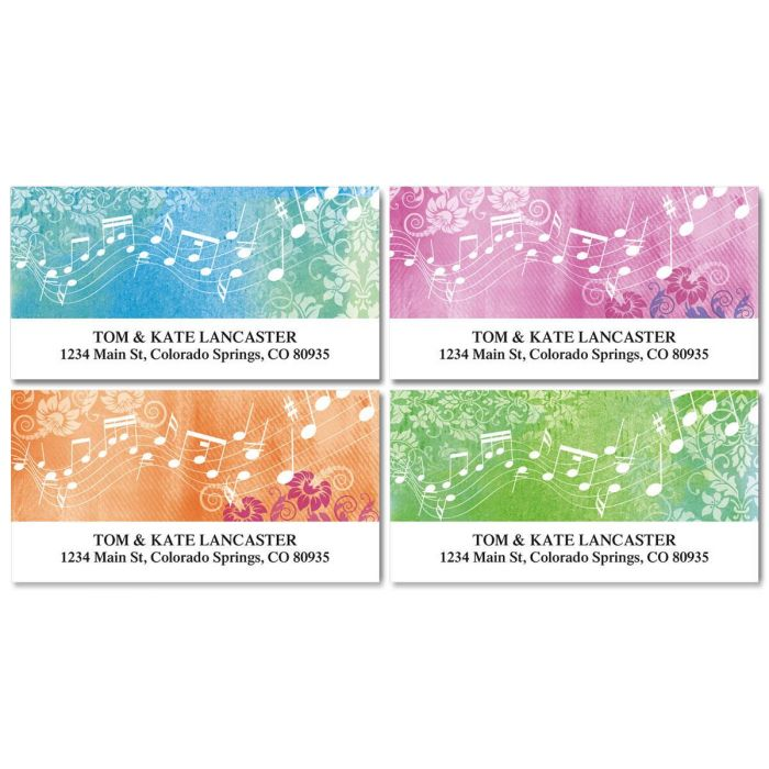 Floral Notes Address Labels