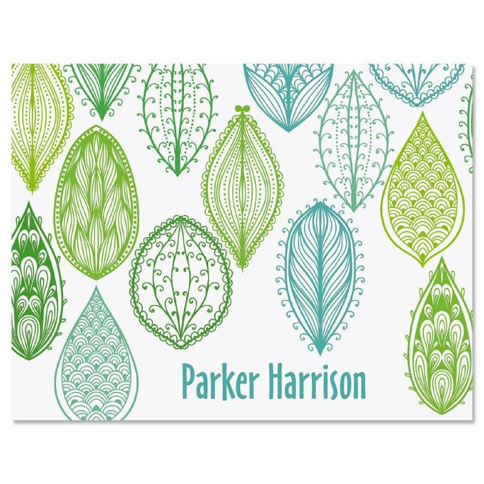Abstract Leaves Personalized Note Cards
