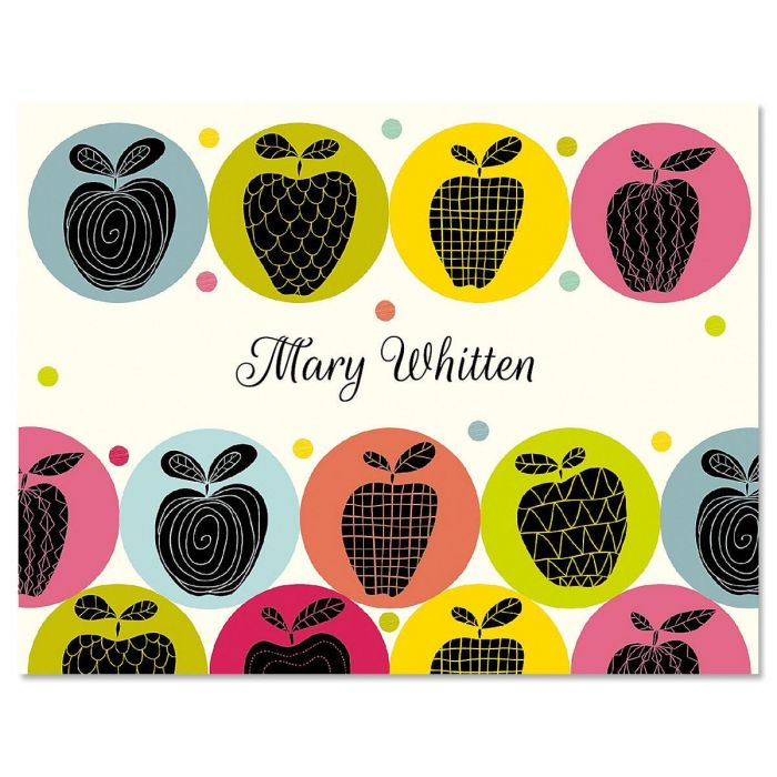 Geometric Apples Personalized Note Cards