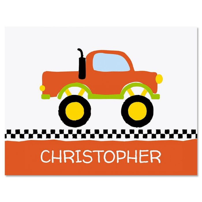 Monster Truck Personalized Note Cards