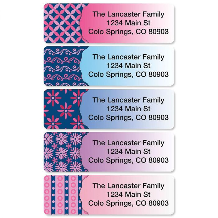 Navy Pop Rolled Address Labels  (5 Designs)