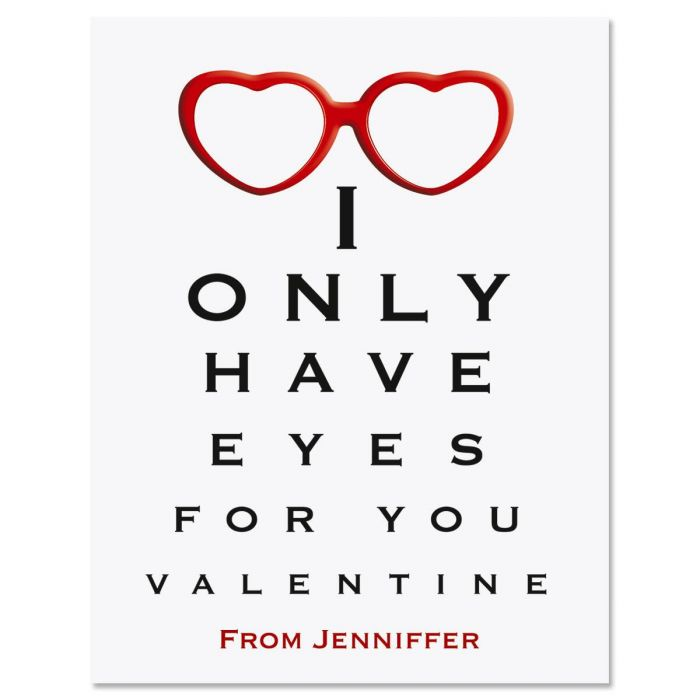 Eye Chart Valentines Day Cards