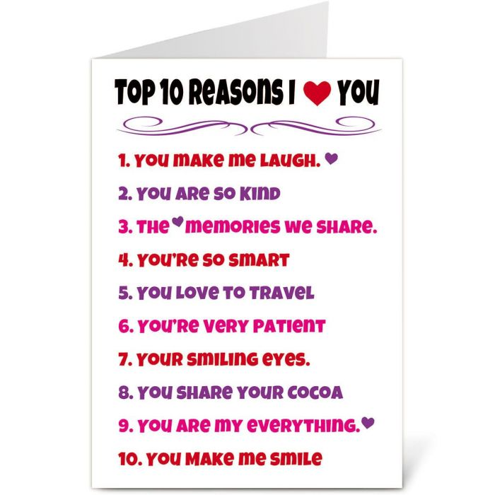 Top Ten List Valentine Create-A-Card