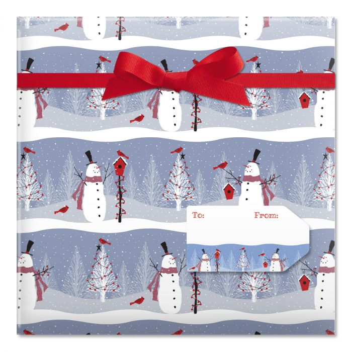 Winter Visitor Jumbo Rolled Gift Wrap and Labels