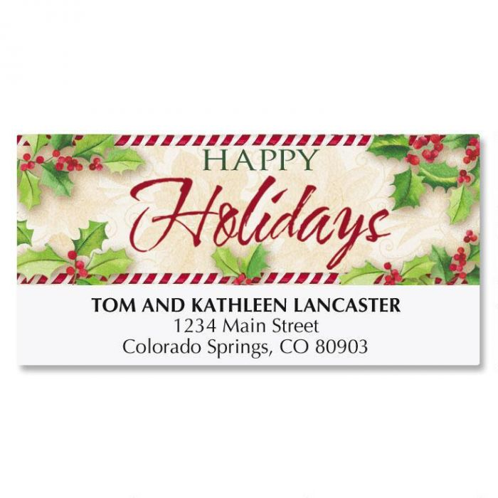 Holly Greetings Deluxe Address Labels