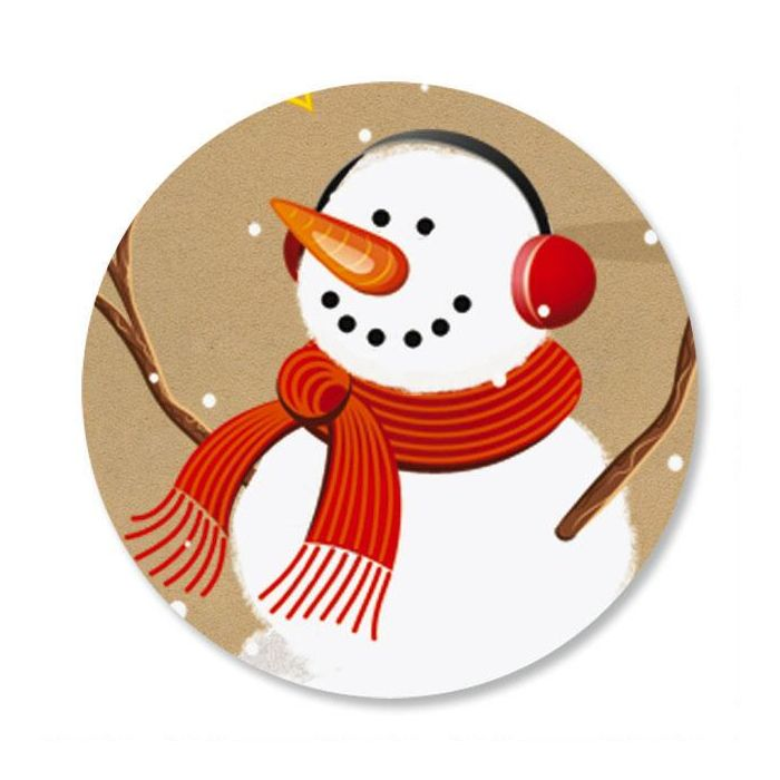 Snowman on Kraft Envelope Sticker Seals