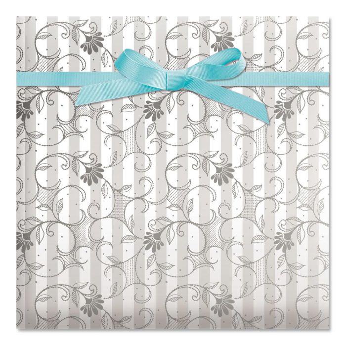 Pearl Stripe Swirls Jumbo Rolled Gift Wrap