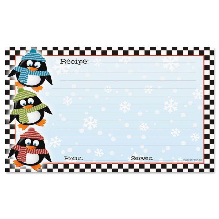 Penguin Recipe Cards - 3 x 5