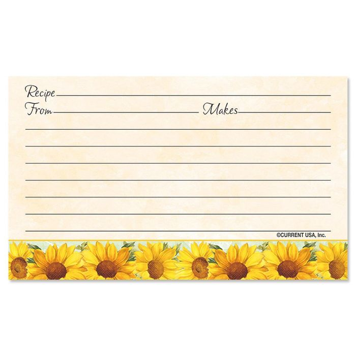 Sunflowers Recipe Cards - 3 x 5