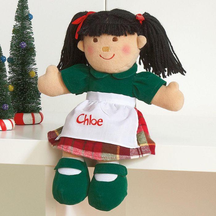 Black Hair Christmas Doll
