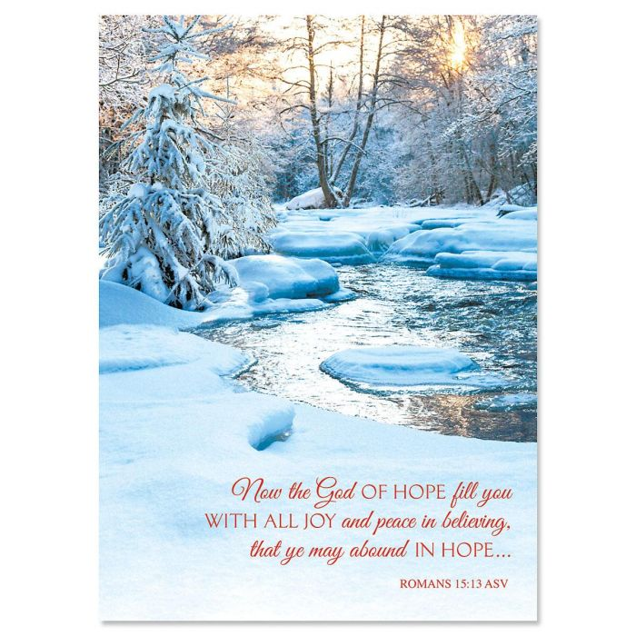 Snowy Stream Religious Christmas Cards