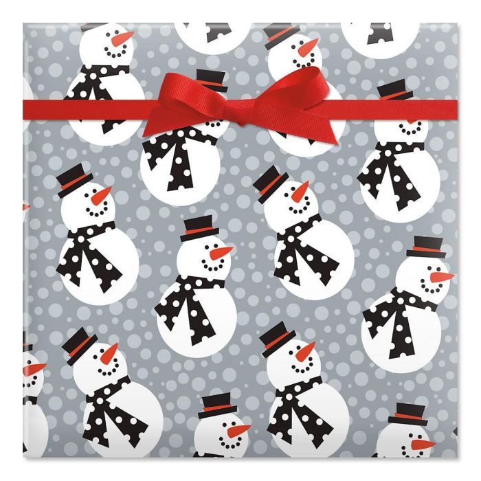 Snazzy Snowman Jumbo Rolled Gift Wrap