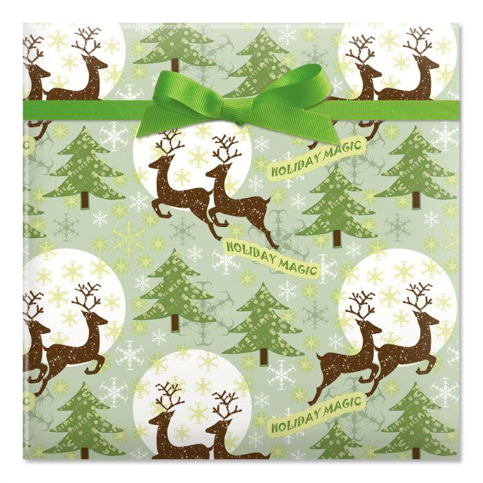 Reindeer Holiday Magic Jumbo Rolled Gift Wrap