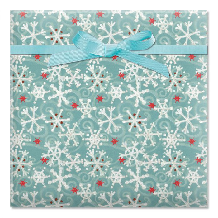 Winter Flakes Jumbo Rolled Gift Wrap