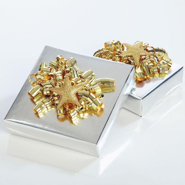 Gold with Gold Glitter Star Curly Bows - Set of 6