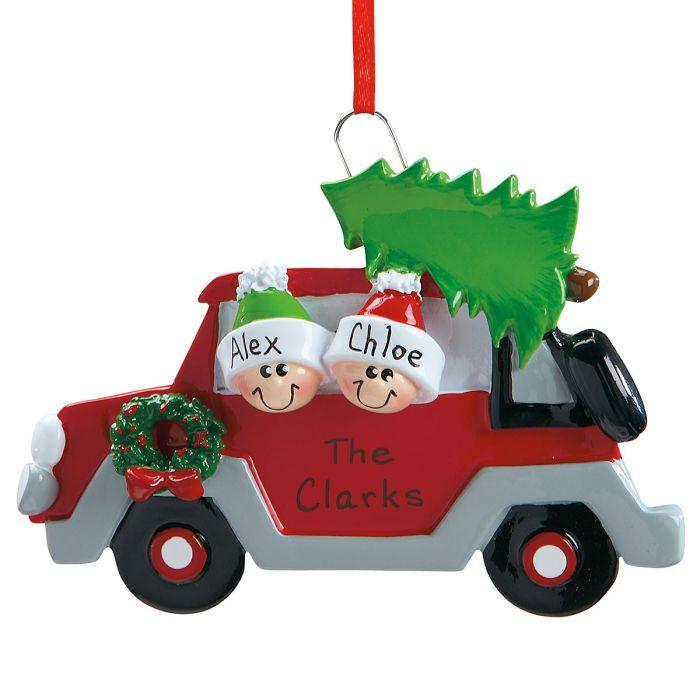 Christmas Tree Caravan Hand-Lettered Resin Ornaments