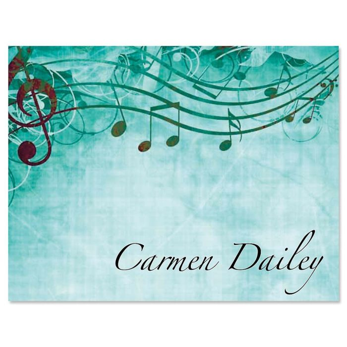 Sheet Music Aqua Personalized Note Cards