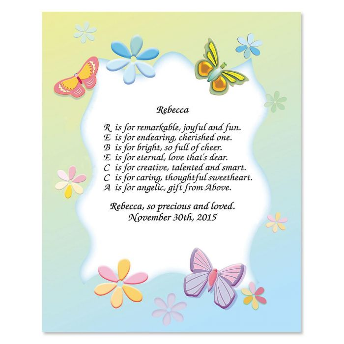 Butterfly Name Poem Print