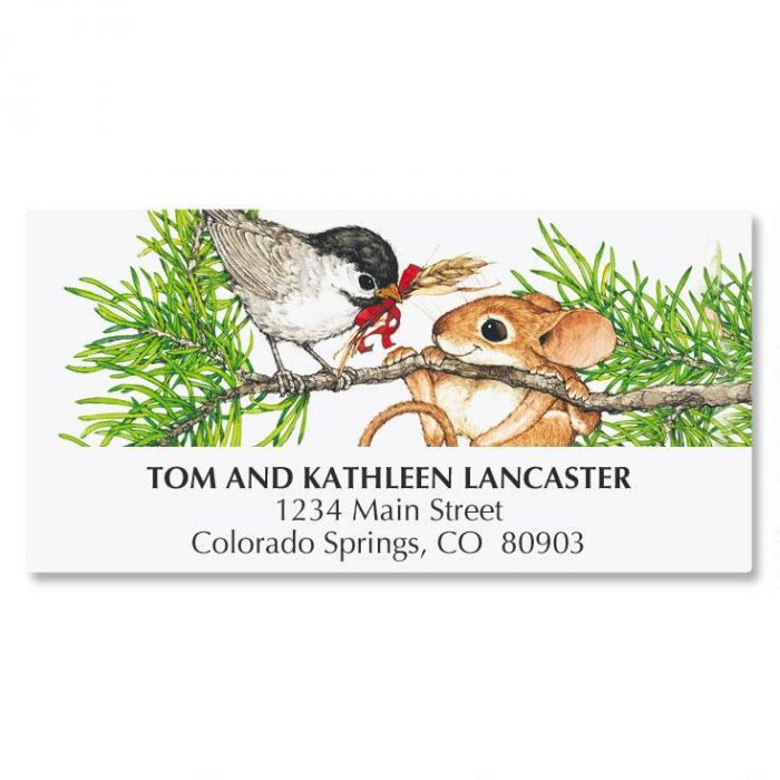 Bird and Mouse in Tree Address Labels