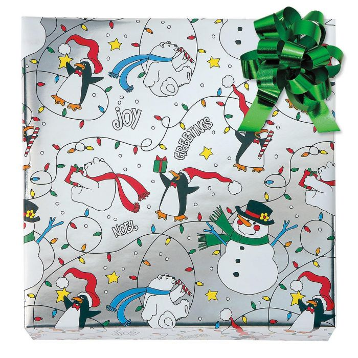 Christmas Critters Foil Rolled Gift Wrap