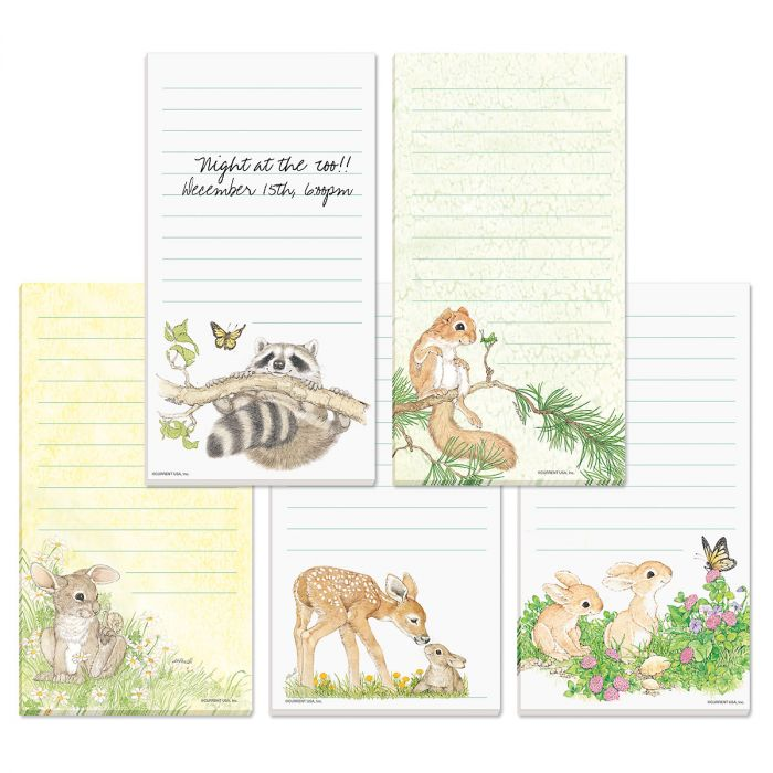Cute Critters Lined Magnetic Notepads