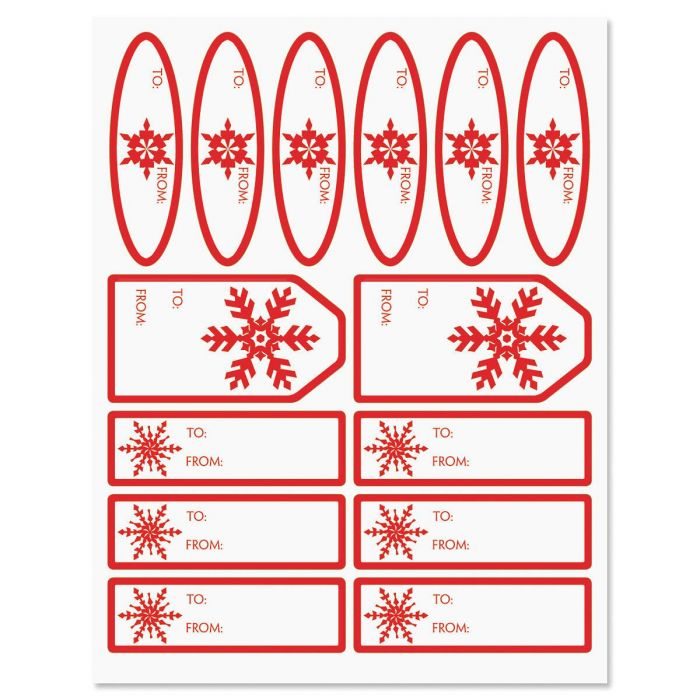 Red Snowflake Labels